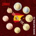 2001 Španija KMS SET (1c - 2 EUR)