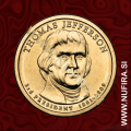 2007 Amerika 03. predsednik Thomas Jefferson, 1 USD