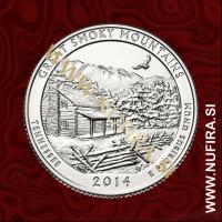 2014 Amerika 21. nacionalni park Great Smoky Mountains, 0.25 USD