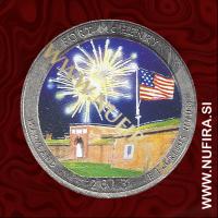 2013 Amerika 19. nacionalni park Fort McHenry (barvni), 0.25 USD