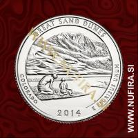 2014 Amerika 24. nacionalni park Great Sand Dunes, 0.25 USD