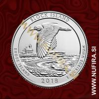 2018 Amerika 45. nacionalni park Block Island, 0.25 USD