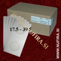 Samolepljivi kartončki za kovance (beli): Ø17.5 - Ø39.5 mm (100x)
