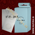 Samolepljivi kartončki za kovance (beli): Ø17.5 - Ø39.5 mm (25x)