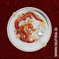 2012 Avstralija, Lunar 2, Zmaj (barvni, rdeč), 1 AUD, 1oz