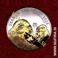 2015 Velika Britanija, Lunar, Ovca (pozlačen), 2 GBP, 1oz