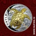 2015 Niue, Želva (pozlačen), 2 Dollars, 1oz