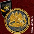 2016 Isle of Man, Angel (Black Rhodium + Gold), 1oz