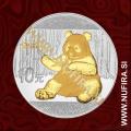 2017 Kitajska, Panda (pozlačen), 10 Yuan (30 g)