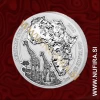 2018 Ruanda, Žirafa, 50 RWF, 1oz