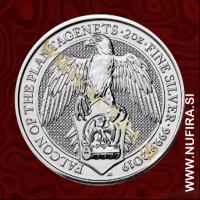 2019 Velika Britanija, Falcon of the Plantagenets, 5 GBP, 2oz