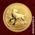2018 Avstralija, Lunar 2, Pes, 15 AUD, 1/10 oz, zlato