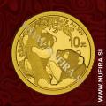 2021 Kitajska, Panda, 10 Yuan (1 g), zlato